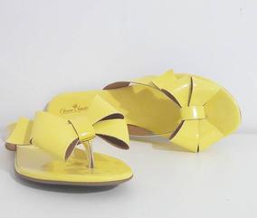 Rasteira Amarela Feminina Laço Verniz Rasterinha 1335