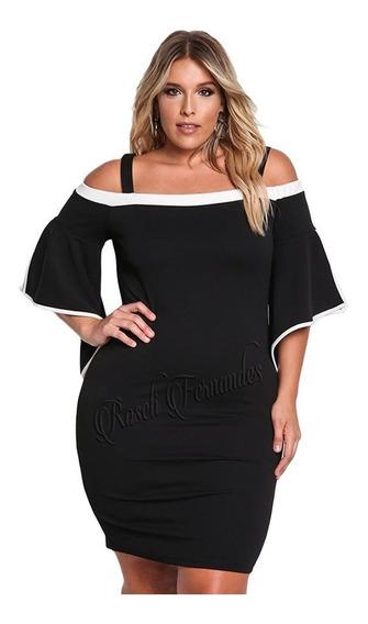 Vestido Feminino Moda Chic Plus Size Ciganinha Tubinho Midi
