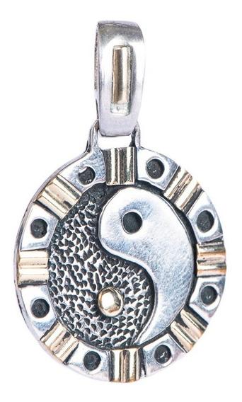Medalla Ying Y Yang / Equilibrio En Plata Y Lamina De Oro