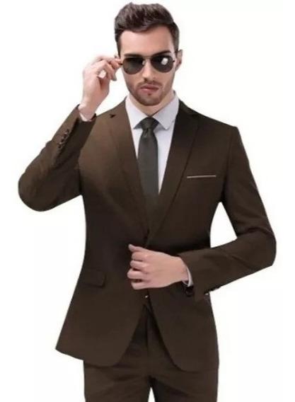 Terno Oxford Slim Masculino Corte Italiano Cor Marrom+barato