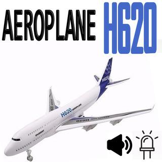 Avião Brinquedo Luz Fricção Som Jumbo H620 Plastico Brinqued