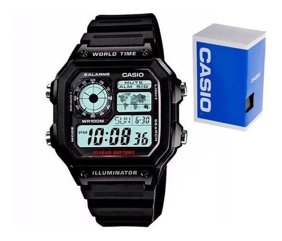 Reloj Casio Ae1200 Wh Mapa Alarmas Original Envío Gratis