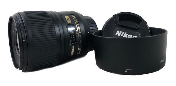Lente Nikon 60mm F/2.8g Ed S/ Nova Conservada Com Garantia