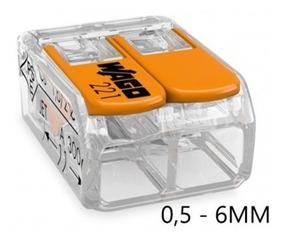 6 Conector 2 Polos 221-612 0,5 A 6mm 41a Wago Para Chuveiro