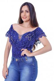 Body Feminino Zigma Bordado Azul