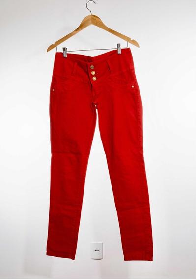 Calça Vermelha Sarja Tamanho 35 Skinny