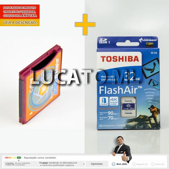 Cartão Sd Wifi Toshiba 32gb W04 + Adaptador Cf Tipo 2 | Np
