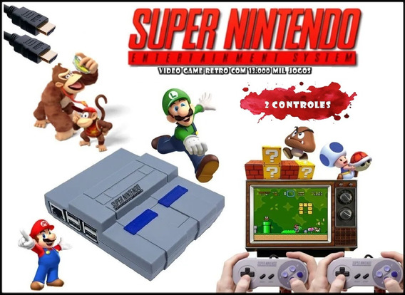 Super Nintendo Mini Retro 13 Mil Jogos 2 Controles