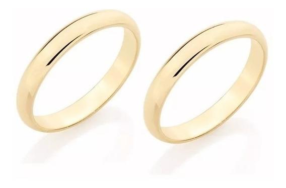Par Alianças Rommanel Meia Cana Fina Lisa F. Ouro 18k 510152 Compromisso Casamento Noivado Com Garantia E Nota Fiscal