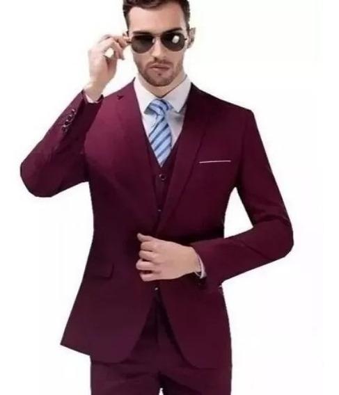 Terno Masculino 2 Botões Masculino Vinho + Camisa + Gravata