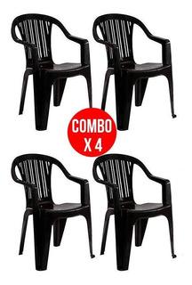 Combo X4 Sillon Garden Life Titan C/ Apoya Brazo Apilable