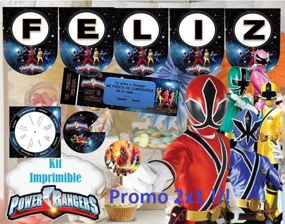 Kit Imprimible Power Rangers Candy Bar Golosinas Banderines