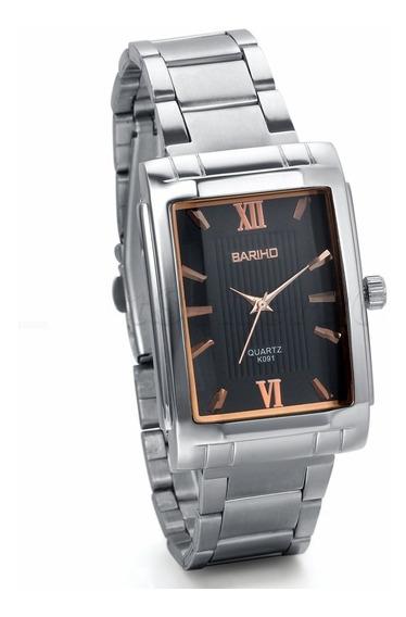 Relógio Quadrado Bariho Preto Prata Aço Cromado Luxo