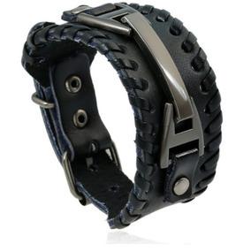 Pulseira Bracelete Em Couro Marrom Preto Kit 2 Unidades