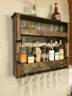 Caba De Madera Repisa Cantina Bar Flotante Porta Vinos