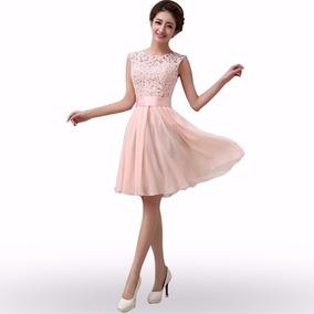 Vestido Festa Renda Princesa Rosa Rodado #19 Formatura