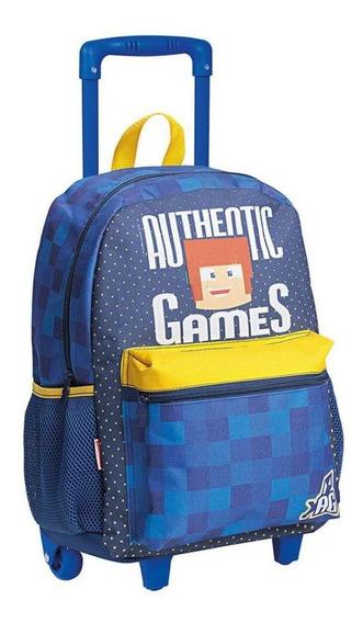 Mochila Authentic Games Com Rodinha Escolar Infantil Meninos