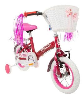 Bicicleta Philco Niña Niño Rodado 12 Patio Rodado Rosa