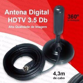 Antena Digital Uhf Hdtv Interna/externa 3.5 Db 4.3m De Cabo