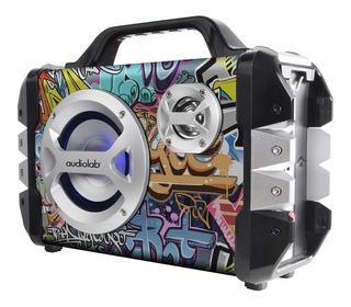 Parlante Bluetooth Suitcase Grafiti 20w Bateria Fm Audiolab