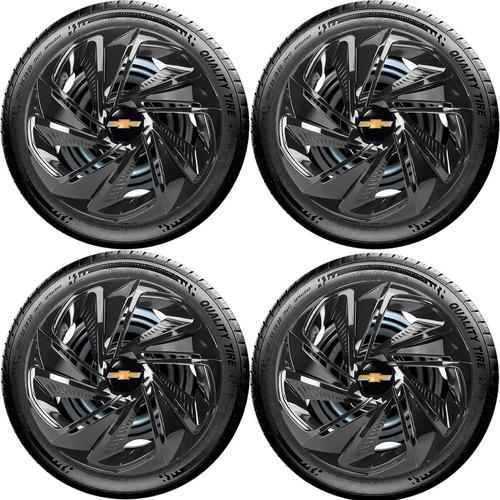 Jogo 4 Calotas Aro 13 Nitro Black Gm Celta Corsa Classic