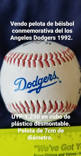 Pelota Conmemorativa De Béisbol. Los Angeles Dodgers 1992