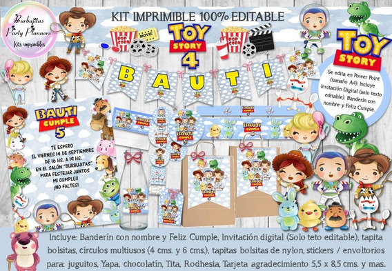 Kit Imprimible Candy Bar Toy Story 4 Acuarela 100% Editable