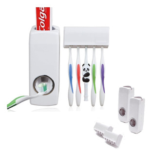 Pack X2 Dispensador De Pasta Dental Baño Porta Cepillo Dient