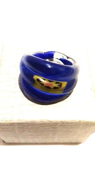 Anillo De Murano Veneciano Color Azul