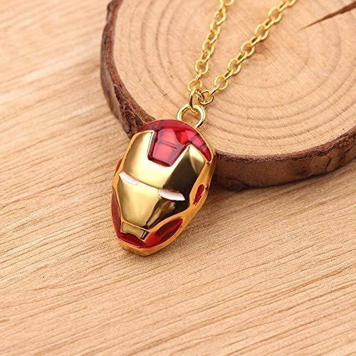 Collar Casco Iron Man Dorado Con Rojo