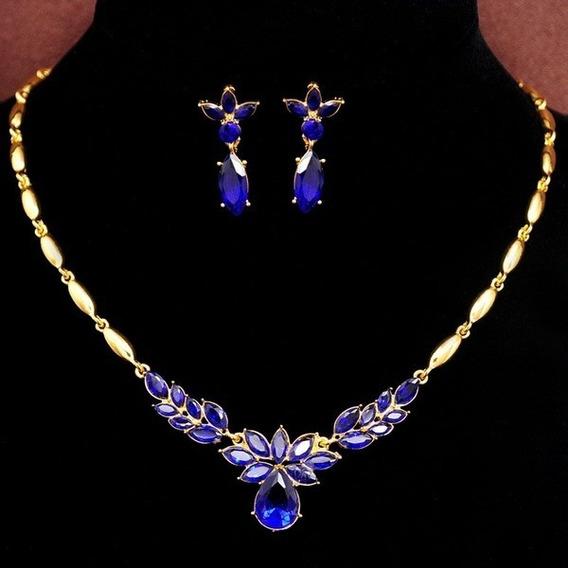 Conjunto Dourado Luxo Festa De Colar E Brinco Azul