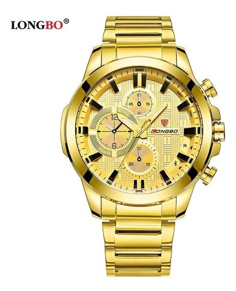 Relógio Masculino Longbo Dourado Novo + Brinde + Promoção.