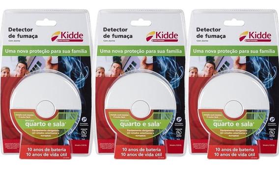 Kit 3 Peças Detector De Fumaça Com Alarme Sala Quarto Kidde