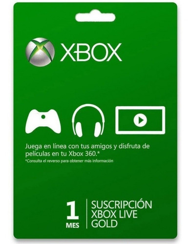 Imagen 1 de 1 de Tarjeta 1 Mes Xbox Live Gold One Y 360 - Se Envía X Email