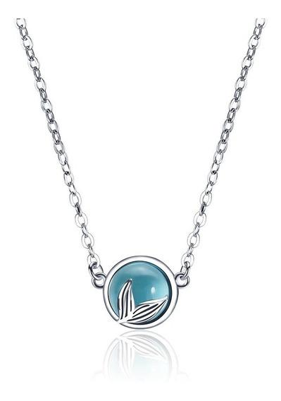 Collar Lagrima Sirena Azul Bola Preciosa Plata Esterlina 925