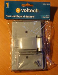 Placa Sencilla Intemperie Con Protector Voltech Electricidad