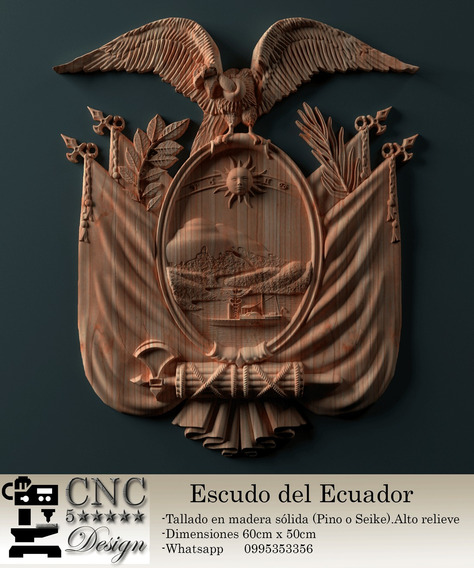 Escudo De Ecuador Tallado En Madera Bajo Pedido