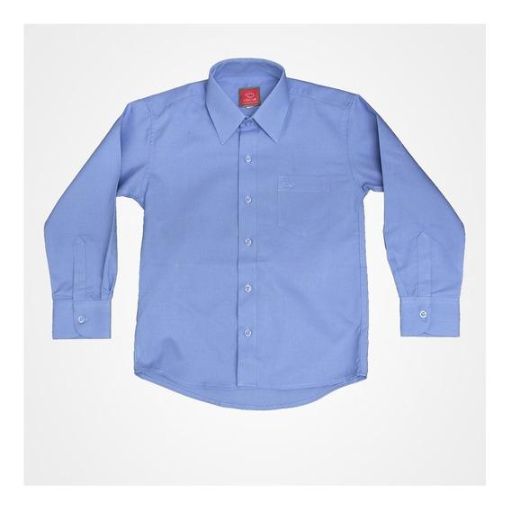 Camisa Manga Larga De Vestir Oscar Azul Con Tirantes Moño