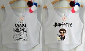 Roupa Feminina Blusa Regata Cropped Harry Potter Kit 2 Peças