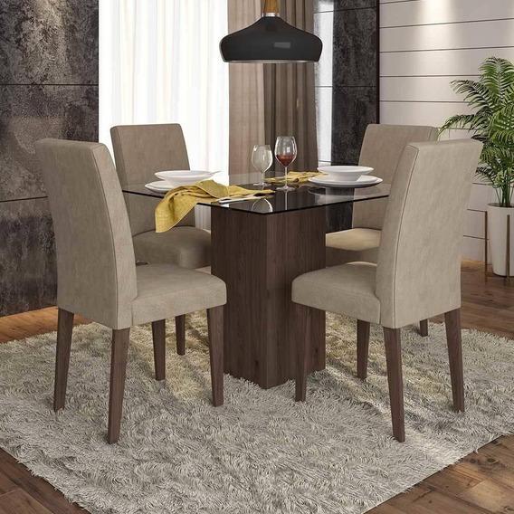 Conjunto Sala De Jantar 4 Cadeiras C/ Vidro Chile