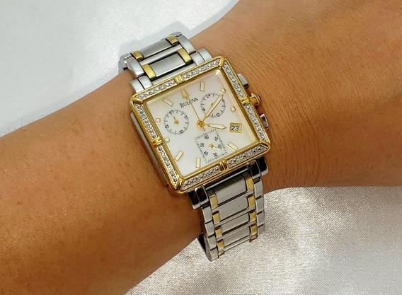 Relógio Feminino Bulova Aço Folheado A Ouro Com Brilhantes