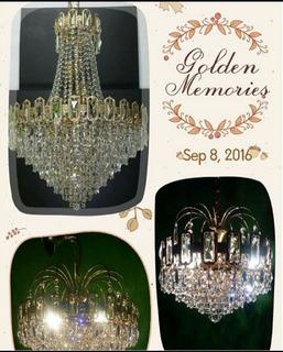 Lamparas Cristal De Bohemia Corte Swarovski Bañadas En Oro