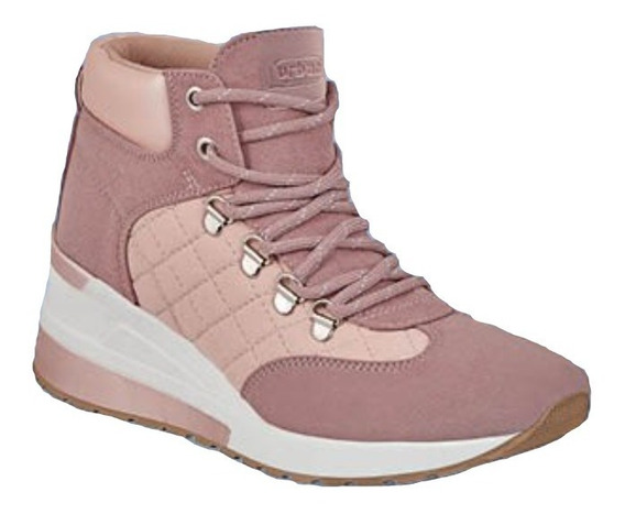 Tenis Sneakers Dama Mujer Moda Rosa Cuña 6 Cm Tipo Bota