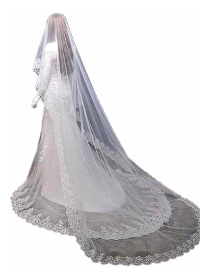 Véu 5 Metros Noiva Casamento Renda Na Borda Mantilha Tule