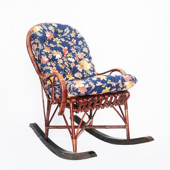 Cadeira De Balanço Papai Em Vime Com Almofada Ideal Para Relaxar Confortável E Espaçosa