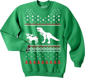 T-rex Attack Christmas Ugly Sweater Unisex Sudadera Con Cuel