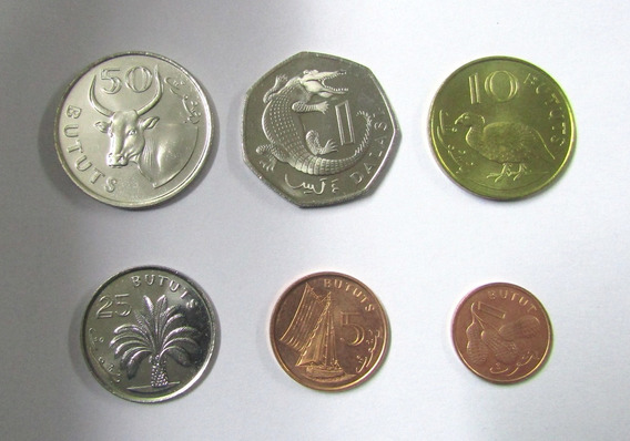 Gambia Set De 6 Monedas Año 1998 Animales Vegetacion Unc