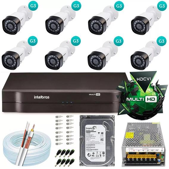 Kit Cftv 8 Câmeras Multi Hd 720p Dvr 8 Canais Intelbras 1008
