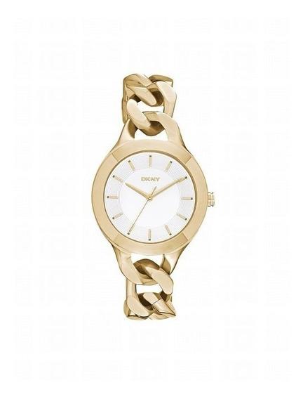 Relógio Pulso Feminino Dkny Donna Karan Aço Dourado Branco