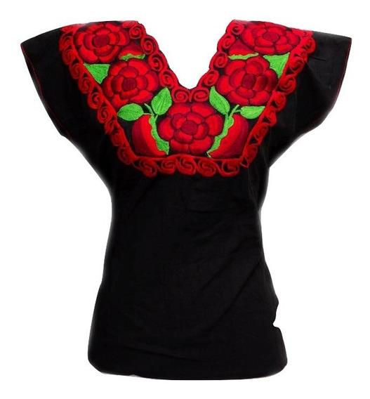 Blusa Artesanal Mexicana Bordada Con Rosas Chiapas Mediana